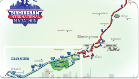 Birmingham Marathon Course Map